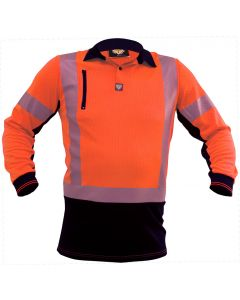 Caution Hi Vis D/N L/S Microvent Premium Polo - Orange / Black