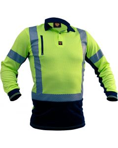 Caution Hi Vis D/N L/S Microvent Premium Polo - Yellow / Black
