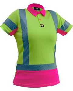 Caution Hi Vis D/N Womens Microvent Polo - Yellow / Pink