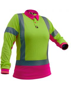 Caution Hi Vis D/N L/S Womens Microvent Polo - Yellow / Pink