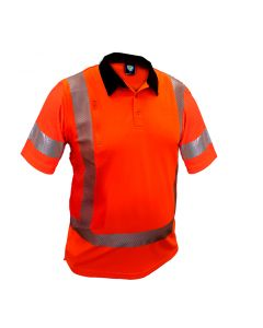 Caution Hi-Vis TTMC-W17 X-Back Short Sleeve Microvent Polo