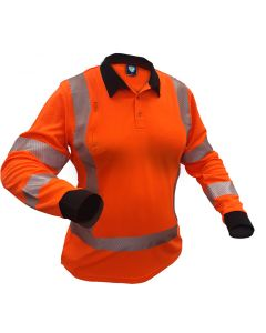 Caution TTMC-W17 X-Back Women's Long Sleeve Microvent Polo