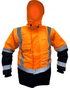 Caution StormPro D/N Zip-off Sleeve Fleece Lined Vest - Orange/Navy