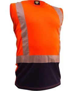 Caution Hi Vis D/N Microfibre Singlet - Orange/Navy