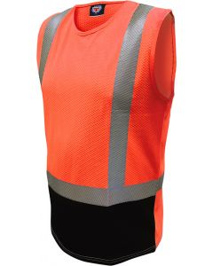 Caution Hi Vis D/N Microvent Premium Singlet - Orange/Black