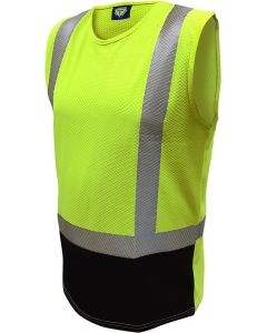 Caution Hi Vis D/N Microvent Premium Singlet - Yellow/Black