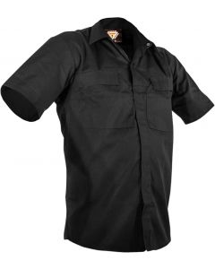 Caution Poly Cotton Short Sleeve Shirt - Black