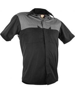 Caution Poly Cotton Short Sleeve Shirt - Black/Grey