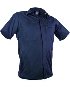 Caution Poly Cotton Short Sleeve Shirt - Navy