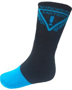 Caution Work Socks - 5 pack - Black/Blue