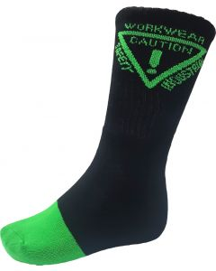 Caution Work Socks - 5 pack - Black/Green