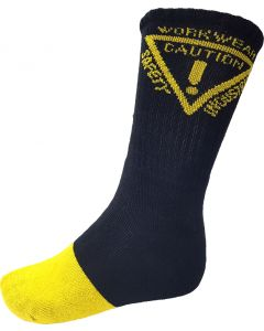 Caution Work Socks - 5 pack - Black/Yellow