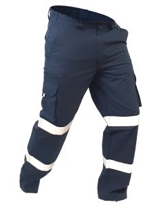 Caution Polycotton Ripstop Taped Cargo Trousers - Navy