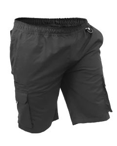 Caution Polycotton Ripstop Elastic Waist Cargo Shorts - Black