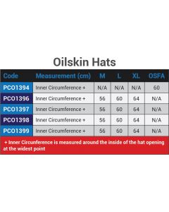 Oilskin Hats Size Chart